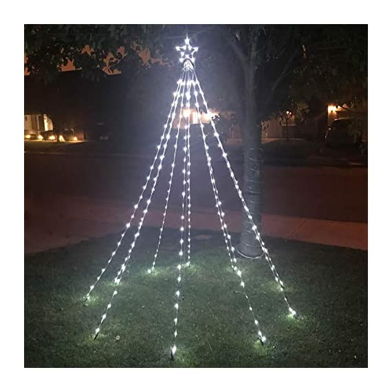 Patio LED Christmas Waterfall Tree Lights Indoor Outdoor Decorative Curtain Lights with 10 String Lights Cool White for Wedding Party Lightning Decoration- 8ft High x 5ft Wide - 8ft long Led Christmas tree lights, 10 strings with a 7 inch metal craft star on the top of the light. 16ft super long extension cord which is long enough for you to connect to the outdoor. Unique cone tree waterfall design feature make our lights versatile in use. You can hang it anywhere you want to meet your different decoration needs. Hang it on the walls, trees or windows to add ambience to the event. Plug in design which means it will brings more brightness and long-lasting than those battery powered lights. IP65 waterproof. Suitable for both indoor and outdoor lightning decoration. No worry about the water or light rain. - patio, outdoor-lights, outdoor-decor - 51F90Cc1DlL. SS570  -