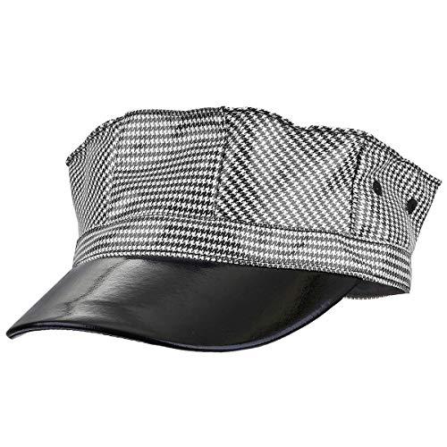 Moonsix Newsboy Caps Men Vintage Plain PU Leather Visor Beret Cabbie Hat 8 Pannels