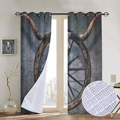 NUOMANAN Window Blackout Curtains Barn Wood Wagon Wheel,Wild West Themed Design with Bull Skull on Cart Wheel Scratched Wall, Multicolor,for Room Darkening Panels for Living Room, Bedroom 52