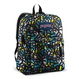JanSport T501 Superbreak Backpack - Blinded Blue/Alien Green Jumble Jan