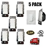 Dimmer Switch, Single Pole, 3-Way 1000W, LED And Incandecent (5 Pack)
