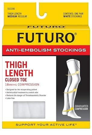 bb34597a3cd26 Amazon.com: Futuro Anti-Embolism Stockings, Medium Regular, White, Thigh  Length, Closed Toe, 1 Pair: Industrial & Scientific