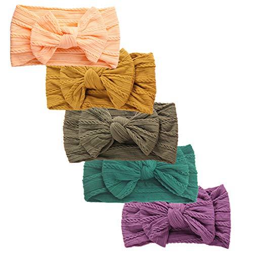 - Baby Girl Nylon Headbands,Textured Classic Knot Hair Bows for Newborn Infant Toddler Girls,5 Pack