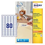 Avery L4732REV-25 Self-Adhesive Removable Mini Labels, 80 Labels Per A4 Sheet