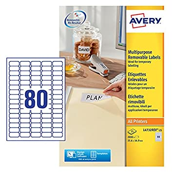 Avery L4732rev 25 Self Adhesive Removable Mini Labels 80 Labels Per