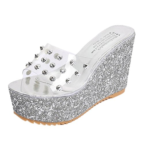 Valentine Wedge - Aurorax Women's Girls Wedge Sandals, [Spring Summer Transparent Platform Sandals] Bohemia Shoes Caserta Sandals for Beach Party (Silver, 39/ US:7)