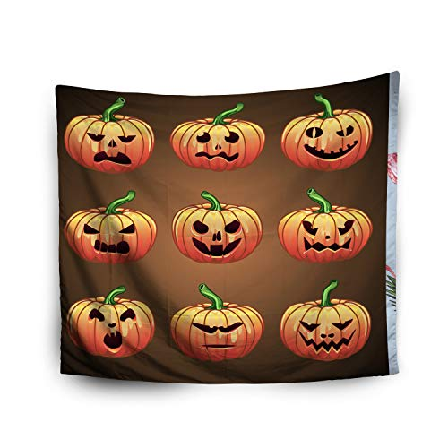 (Pamime Home Decor Tapestry for Halloween A Large Pumpkins Halloween Smilies Happy Halloween Wall Tapestry Hanging Tapestries for Dorm Room Bedroom Living Room (50x60 Inches(130x150cm))