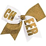 Chassé Girls' Cheer Performance Hair Bow Glitter Gold/White