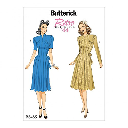 40s Rayon Dresses (Butterick Patterns B6485 A5 Misses' Retro 1940s Dresses with Shoulder and Bust Detail, Waist Tie, and Sleeve Variations, Size 6-14 6485)