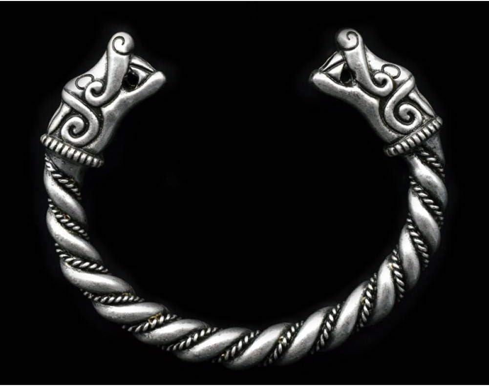 ILSXV Pulseras de la joyería Pulsera Hecha a Mano de jabalí Lobo Pulsera Abierta de aleación de Plata para Hombre