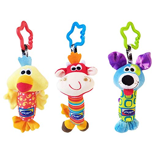 3 Pcs Infant Baby Plush Adorable Animal Car Seat Hanging Rattle Toy Kids Stroller Crib Pram Ornament Bells Puppet with Wind Chime and Squeak