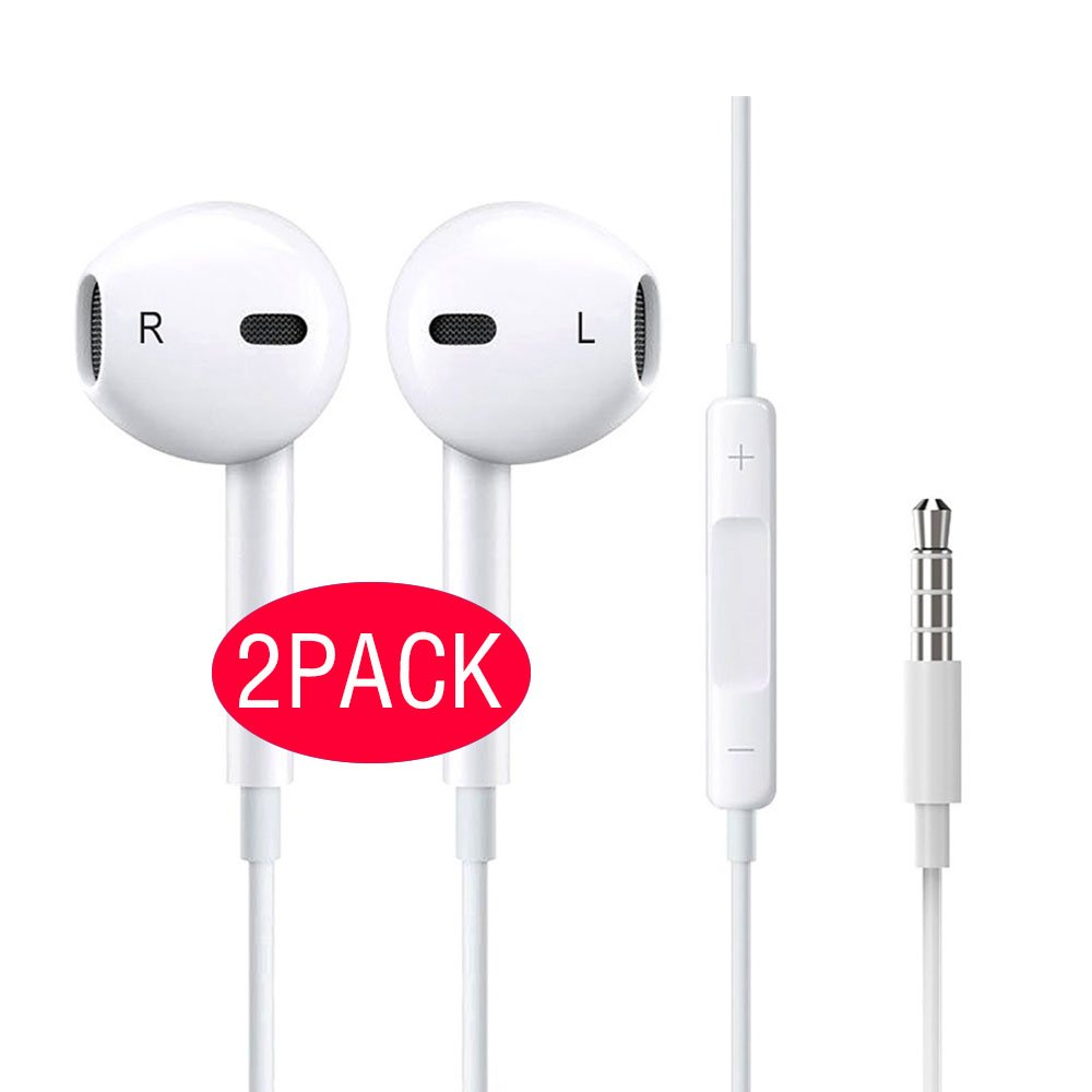 Earbuds Premium Earphones Stereo Headphones, Wired Earphones with Built-in Microphone and Volume Control, Compatible for iPhone iOS Apple Applicable and All More Android Smartphones<2-Pack> [White] by Mingbai