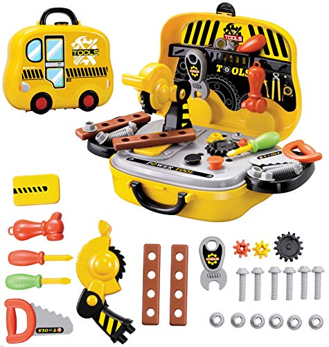 Toy Chef Pretend Tool Set Screwdrivers, Hammer, Wrench, Screws & More Tools for Boys & Girls | Portable Play Kit for Preschoolers
