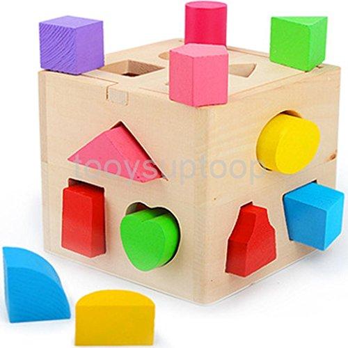MAZIMARK--Wooden Block Intelligence Shape Learning Sorter Box Baby Preschool Kids Toy by MAZIMARK