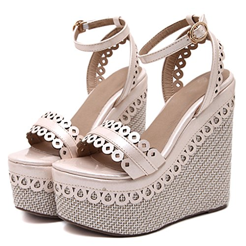 Genepeg Womens Sandals Summer Wedges Pumps High Heels Platform Open Toe Princess Shoes
