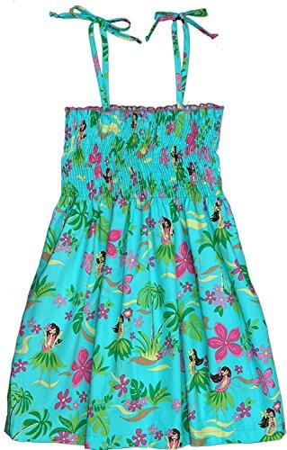 RJC Girl's Hula Girl Fun Hawaiian Smocked Sundress in Teal - 10