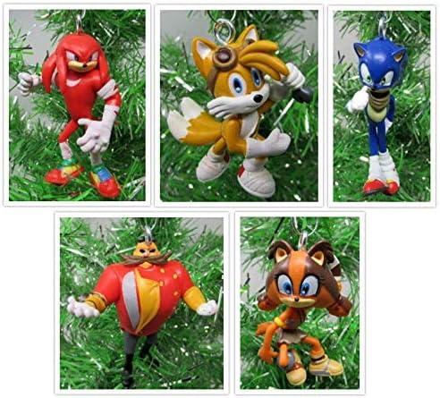 Amazon Com Sonic The Hedgehog Christmas Ornament Set Featuring Sonic And Friends Unique Shatterproof Plastic Design Home Kitchen