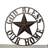 Hot Air Balloon 26 Inches Welcome BARN Star Western Home Decor Metal Wall Art Texas Style (26'' God Bless Our Home)