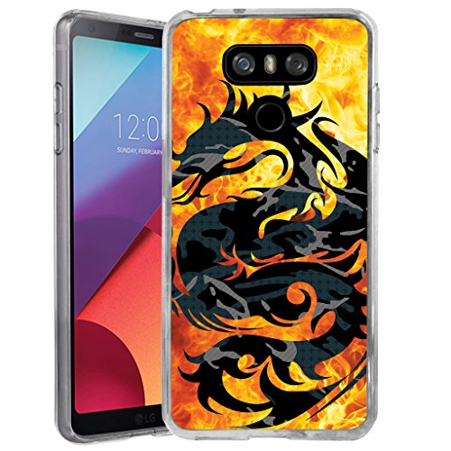 Untouchble Case for LG G6 | G6 Flexible Case |H870 [Flex Max] Flexible TPU Case Slim Fitting Gel Cover with Designs - Red Fire Dragon