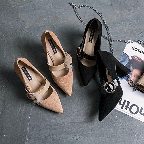 metálica punta Tacones iluminan nueva las solo zapatos con de zapatos hebilla ZHZNVX mujer mujeres de black irregular irregular el zapatos mujer altos Sugerencia con HFwzqxZ8