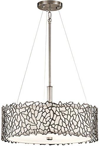 - Kichler 43346CLP Silver Coral Pendant/Semi-Flush 3-Light, Classic Pewter
