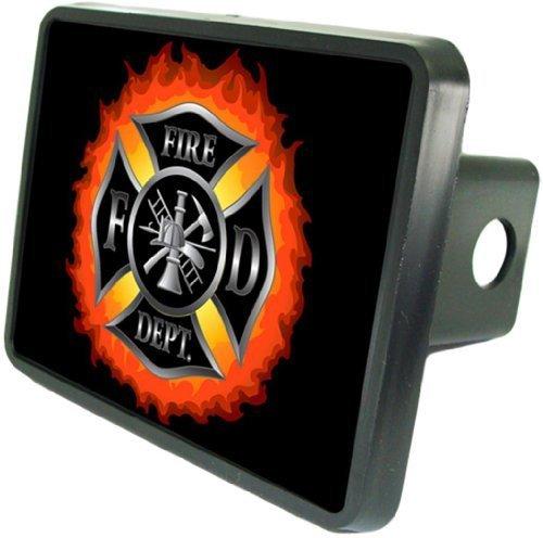 Fire Department Emblem in Flames Custom Hitch Cover 2