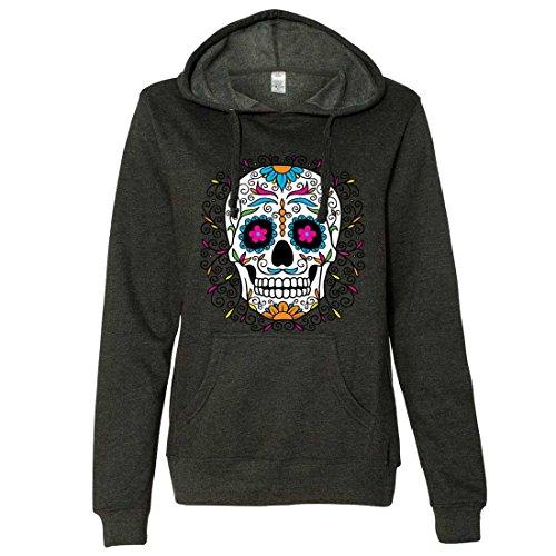 Dia De Los Muertos Pastel Sugar Skull Ladies Lt./Wt. Hoodie - Charcoal Heather XX-Large ()