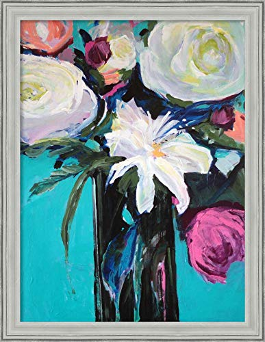 Canvas Art Framed 'White Lily' by Jacqueline Brewer ()