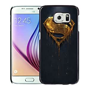 Fashionable And Unique Designed Case For Samsung Galaxy S6 Phone Case With Gold Superman Logo Black
