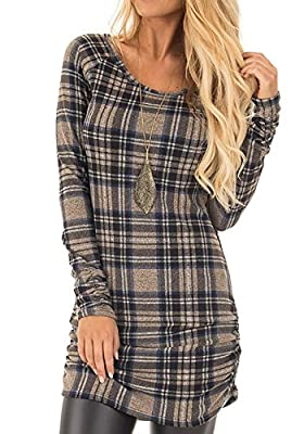 Ferbia Womens Plaid Tunics Tshirt Dress Crewneck Long Sleeve Mustard Mini Dress Side Ruching Blouses Tops