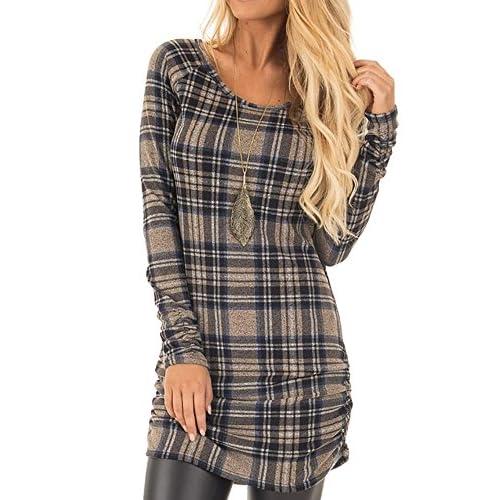 Ferbia Womens Plaid Tunics Tshirt Dress Crewneck Long Sleeve Mustard Mini Dress Side Ruching Blouses Tops supplier