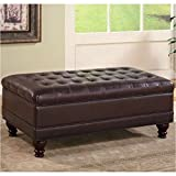Coaster Storage Ottoman with Tufted Accents in Dark Brown Leather Like