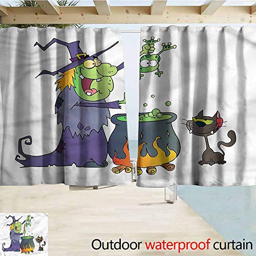 MaryMunger Simple Curtain Witch Cartoon Green Witch with Frog Outdoor Privacy Porch Curtains W55x39L Inches (The Princess And The Frog Witch Doctor)