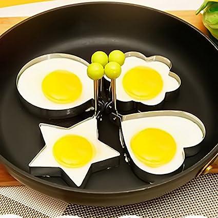 BEAUTOP Molde Antiadherente para Huevos fritos de Acero Inoxidable con Mango para cocinar al freír Plateado