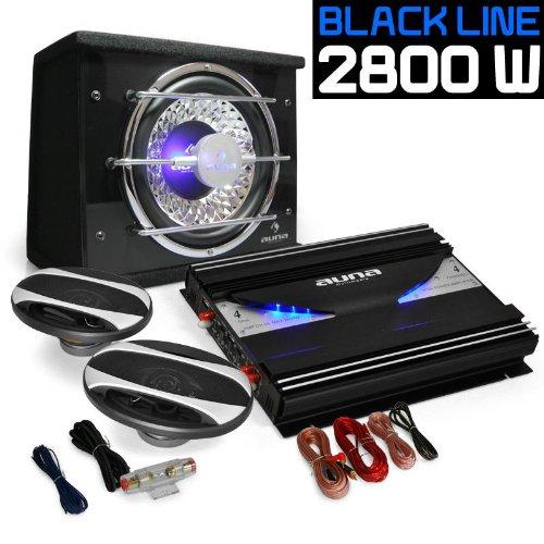 """Set de sono auto """"Platin Line 320"""" - Ampli 4 canaux 2800W, caisson de basses 25cm, 2 haut-parleurs 15x23cm (6x9"""") et set de câbles"""