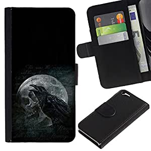JackGot ( Cuervo y del cráneo ) Apple (4.7 inches!!!) iPhone 6 / 6S la tarjeta de Crédito Slots PU Funda de cuero Monedero caso cubierta de piel