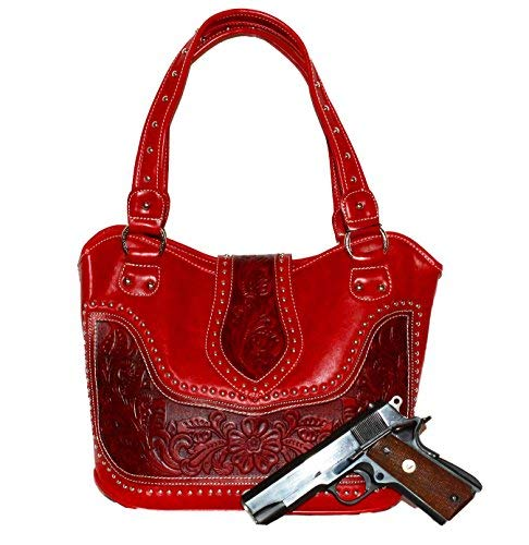 Montana West - Concealed Carry Purse - Tooled Genuine Leather - Red