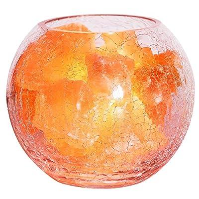 COOWOO Himalayan Hand Carved Globe Natural Salt Lamp