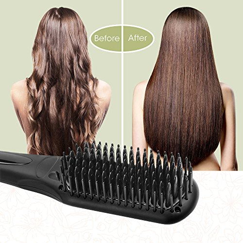 Hair Straightening Brush BearMoo Before and After use results