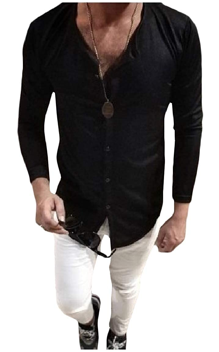 Mfasica Mens Casual Pure Colour Long-Sleeve Button Plus Size T-Shirt Top