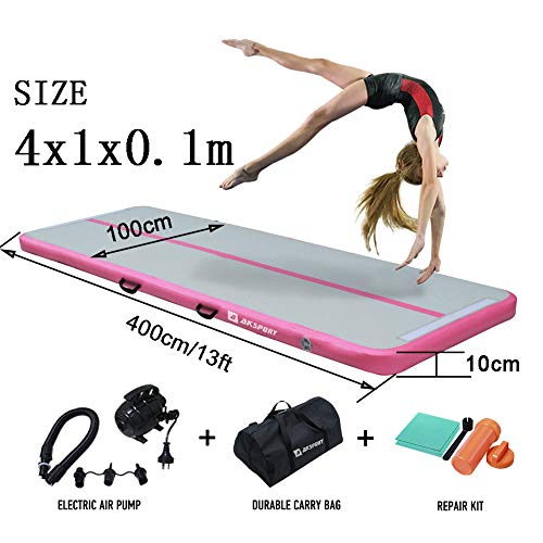 Air Track Gymnastics Tumbling Mat Inflatable Floor Mats with Electric Air Pump for Home Use/Tumble/Gym/Training/Cheerleading/Parkour/Beach/Park/Water 3.3/10/13.12/16.4/20/23-39ft (Pink, 13.12)