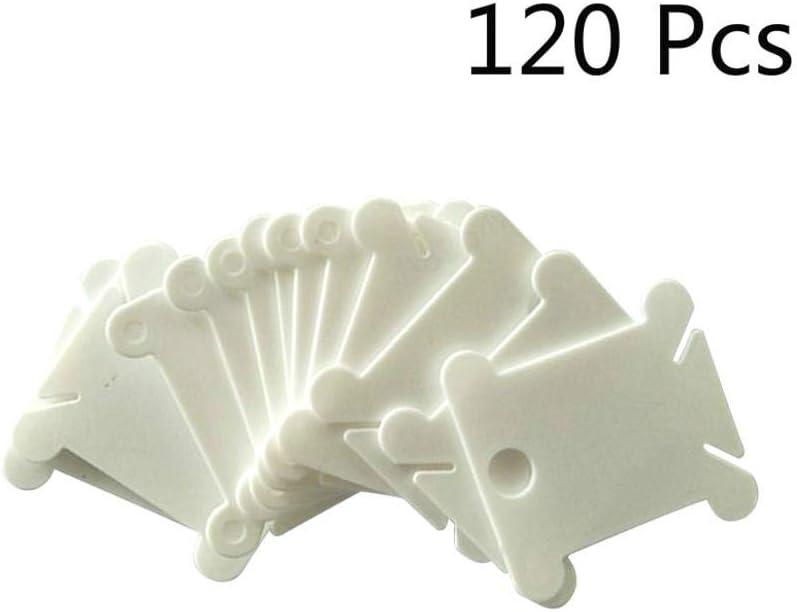 KANGIRU 120pcs plástico Bobinas Hilo Dental Hilo de Bordar Tarjetas de Punto de Cruz Hilo de la canilla Organizador del Arte DIY de Coser de Almacenamiento (Blanco)