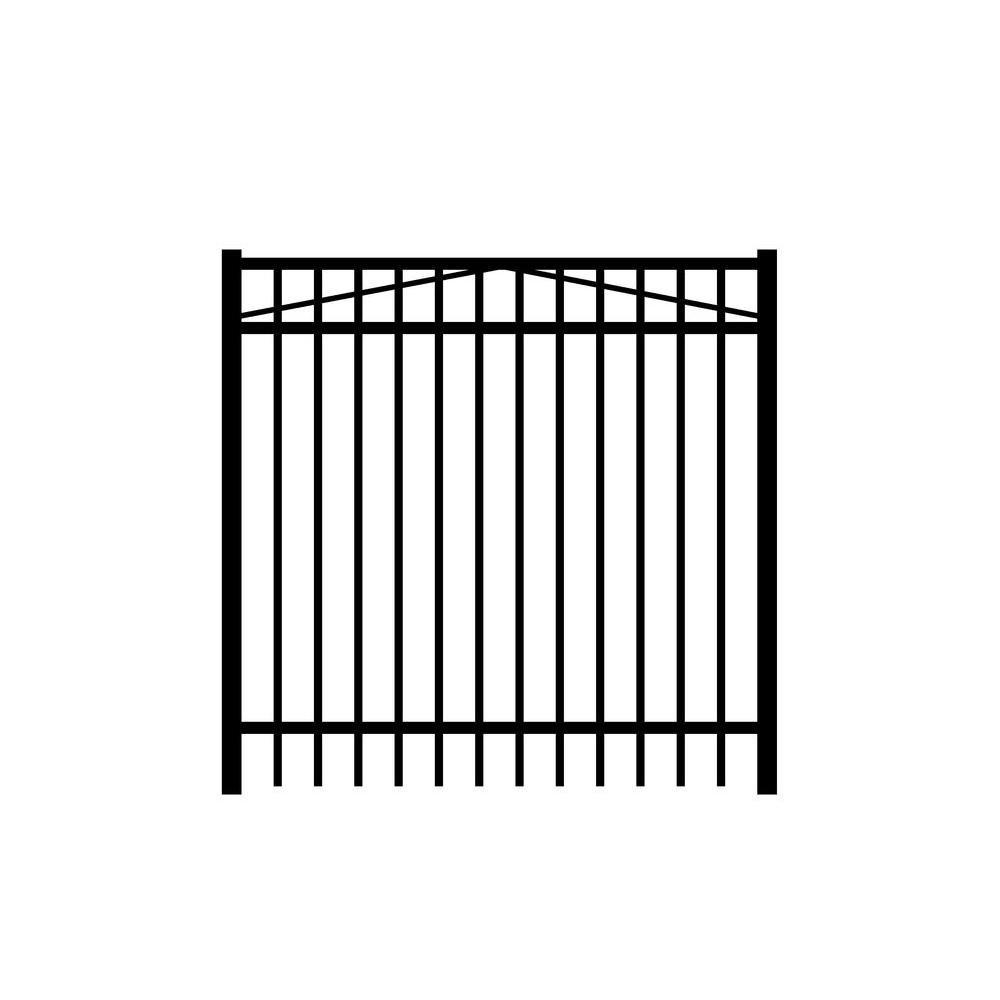 Jefferson 5 ft. x 3 ft. Black Aluminum Single Walk Gate