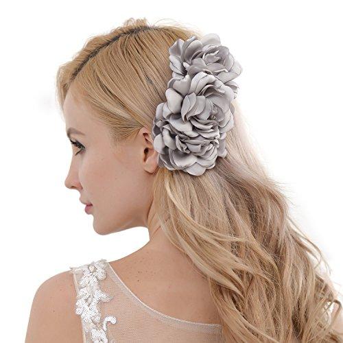 Dorchid Women Flora Hair Side Comb Bridal Handmade Clip Headpiece Wedding Gray