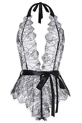 (Aranmei Womens Halter Lingerie Deep V Lace Bodysuit Eyelash Teddy Underwear (Black XX-Large))