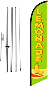 Lemonade Advertising Feather Banner Swooper Flag Sign with Flag Pole Kit and Ground Stake