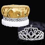 Mirabella Royalty Set, 2 7/8 inch High Mirabella Tiara and Gold Crushed Satin Crown with Silver Band, White Fur