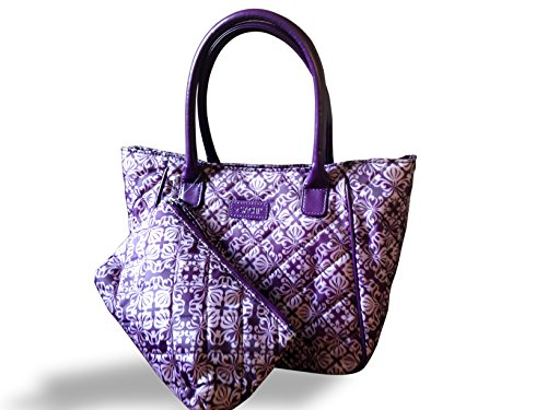Sachi Lunchin' Ladies Tote with Accessory Pouch (Purple Scroll) (Lunch Bags For Women Sachi)