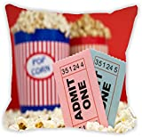 "Rikki Knight Movie Stubs and Popcorn Design 16"" Square Microfiber Throw Decorative Pillow with DOUBLE SIDED PRINT (Insert NOT included)"
