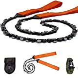 Survival Pocket Chainsaw Folding Hand Saw Chain 33 Serrated 3x faster-24 inch Hand Saw with Orange Straps for Wood cutting Hiking Camping gear Include Survival Bracelet Whistle Wristband & Firestarter Review